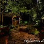Réalisation d'éclairage de jardin et pavé uni