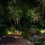 Réalisation d'éclairage de jardin avec bassin d'eau